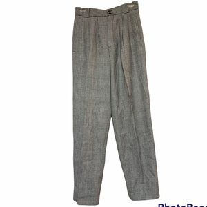 Vintage Wool High Rise Plaid Trousers Pants Size 6
